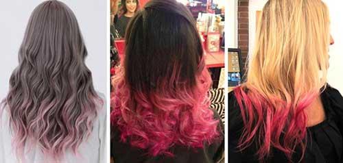 cabelos com mechas rosas