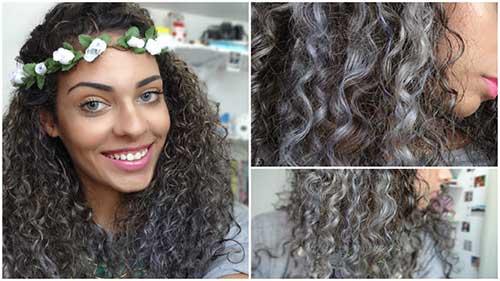 cabelos cacheados cinza