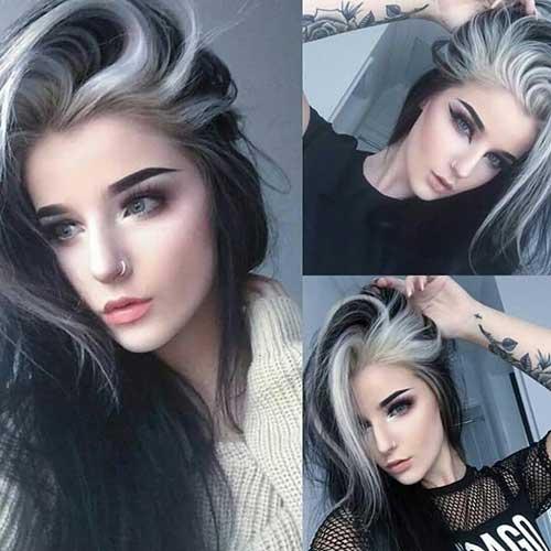 cabelo preto comprido na cor preta e na cor branca