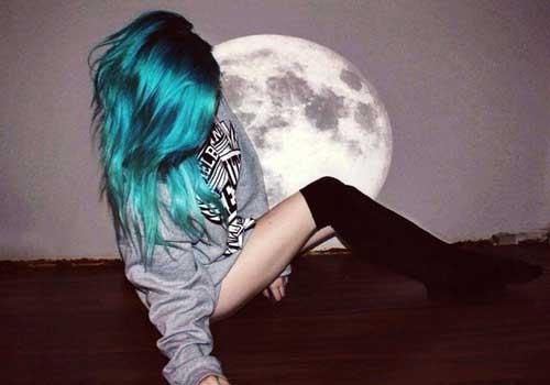 cabelo azul e verde no tumblr