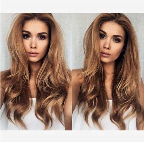 cabelo loiro claro dourado em nuance mais escura, acobreada