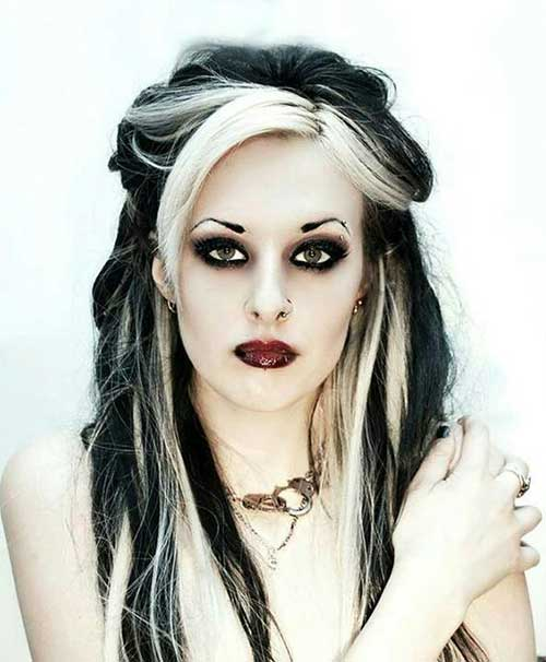 franja platinada em cabelo escuro