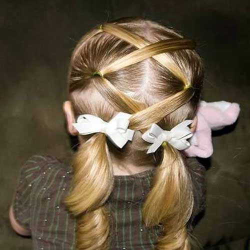 cabelos infantis com laços