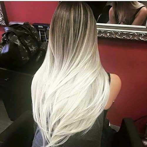 cabelo longo com californiana prateada