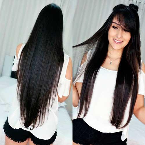 cabelos mega longos de costas