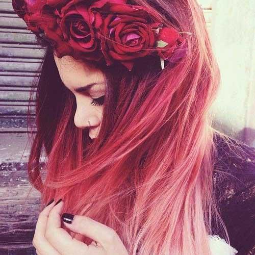 cabelo com mechas rosas lindas