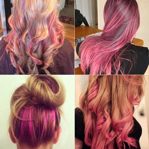 cabelos rosas com luzes