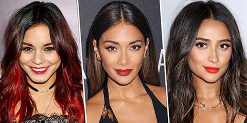imagem de morenas famosas com cabelos negros iluminados