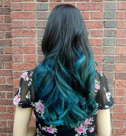 ombre azulado longo e esverdeado