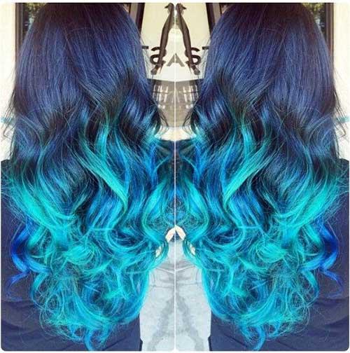 cabelo com mechas ombre hair azuis turquesa
