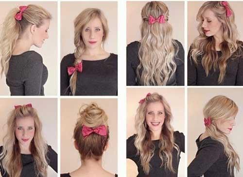 cabelo longo enfeitado com laço