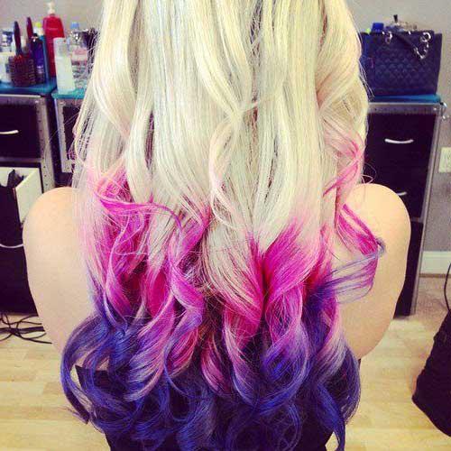 cabelos loiros com pontas rosas e roxas