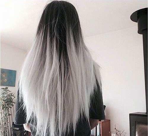 cabelo preto liso e platinado