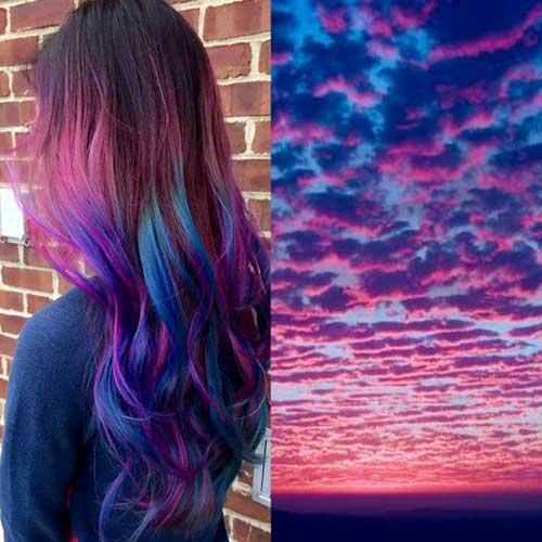 cabelos rosas azuis e roxos
