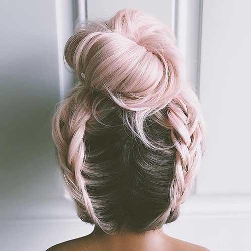 cabelo rosa bebe com trança