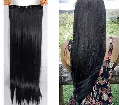 cabelo preto longo de aplique