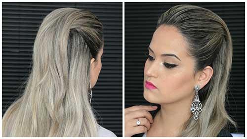 topete feminino em cabelos compridos e lisos