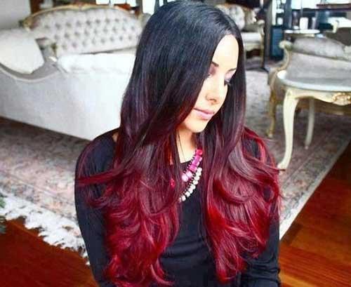 cabelo vermelho com base preta