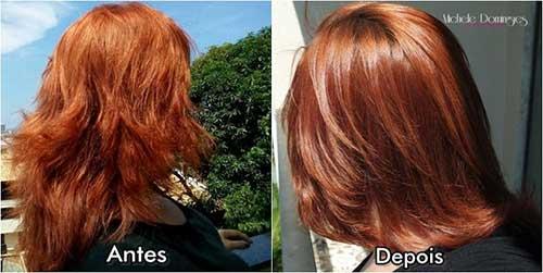 cabelo tingido tratado com vinagre