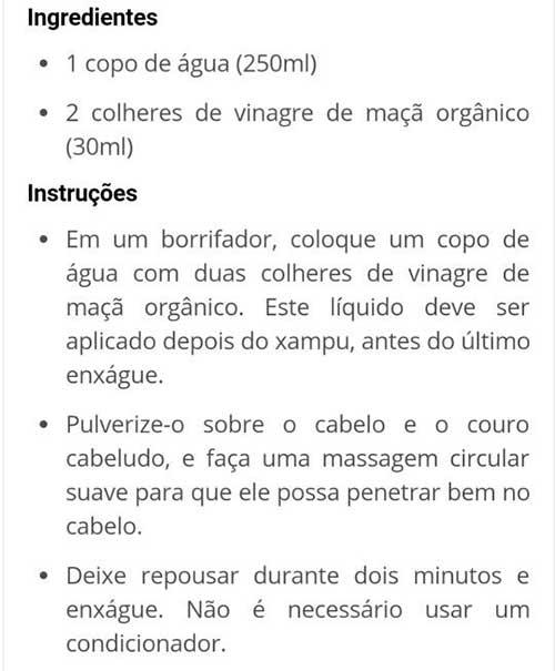 receita alternativa de tratamento com vinagre