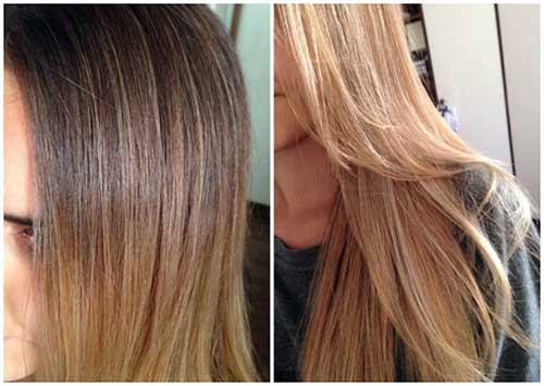 resultado em cabelos loiros com luzes