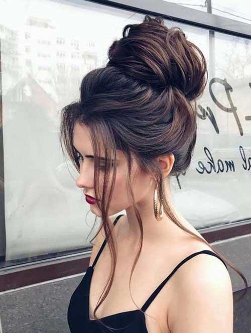 penteado tipo coque volumoso com franja caida