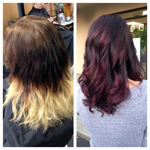 antes e depois de fazer ombre hair vermelho