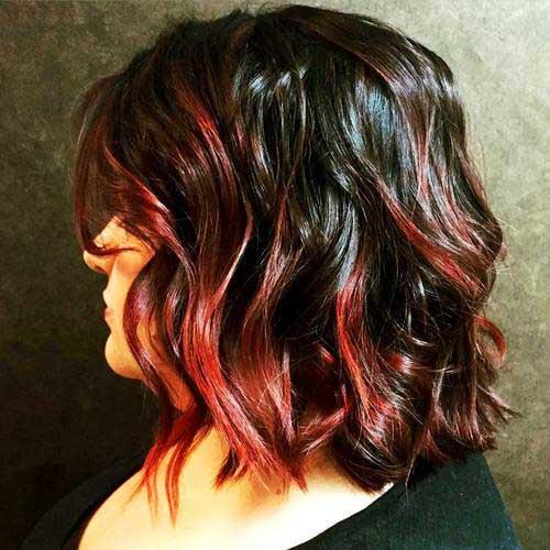 cabelo curto com ombre vermelho