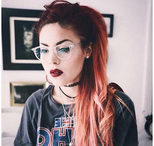 cabelo com raiz vermelha e loiro