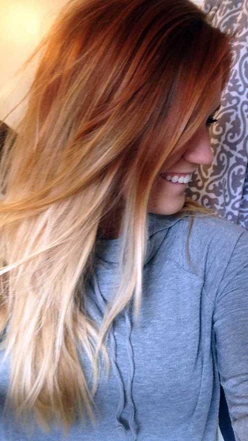 cabelo liso com mechas ombre