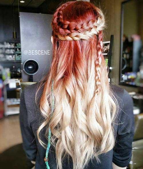 trança ombre hair vermelha e loira