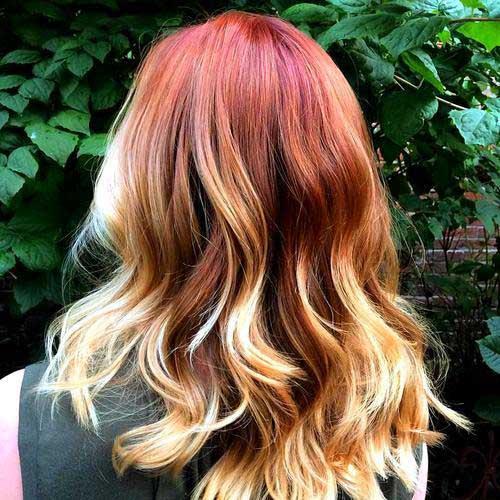 ombre hair vermelho com as pontas loiras