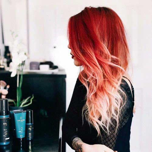 mecha ombre hair vermelha e loira