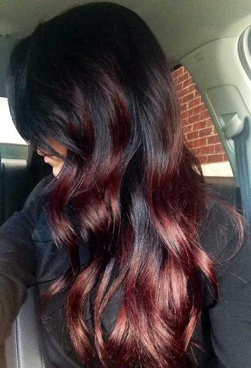 ombre marsala no cabelo preto