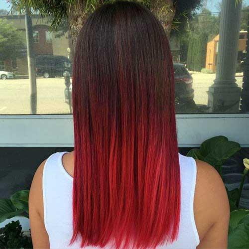 nuance cereja de cabelo vermelho com ombre