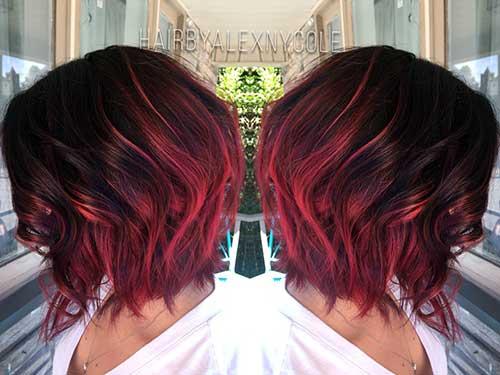 cabelos curtinhos com ombre vermelho