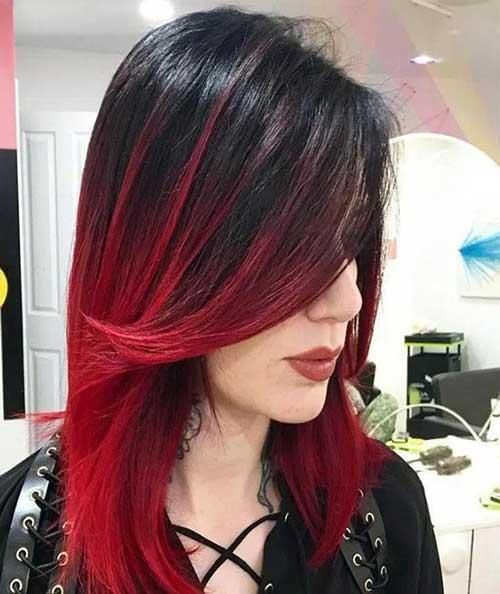 ombre hair vermelho intenso em corte medio com franja