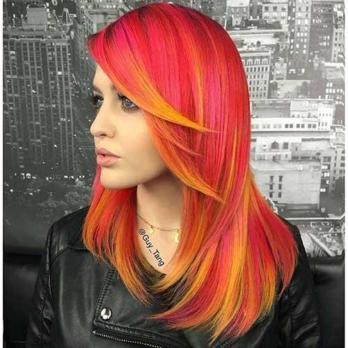 cabelo de boneca vermelho e laranja