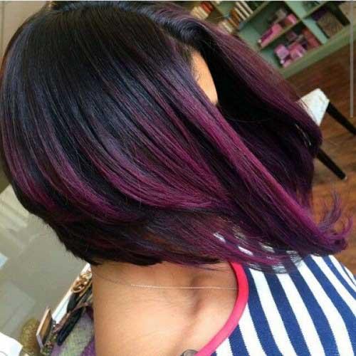 cabelo vinho com ombre curto