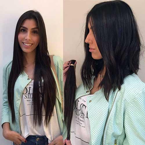 cabelo long bob antes e depois de cortar