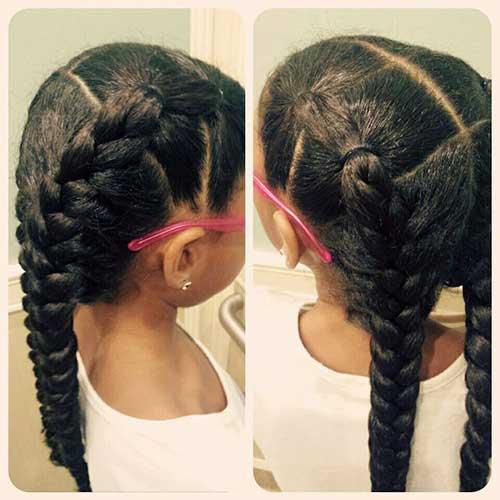 penteado pra cabelo longo cacheado infantil do tipo trança