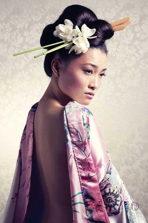 penteado tipo coque japones