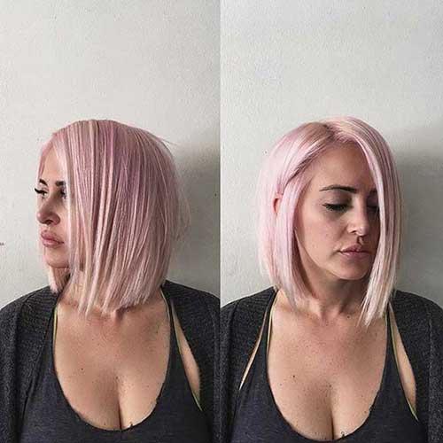 cabelo rosa pastel cortado long bob