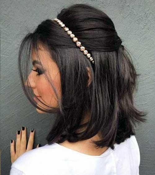 penteado semi solto com corte long bob