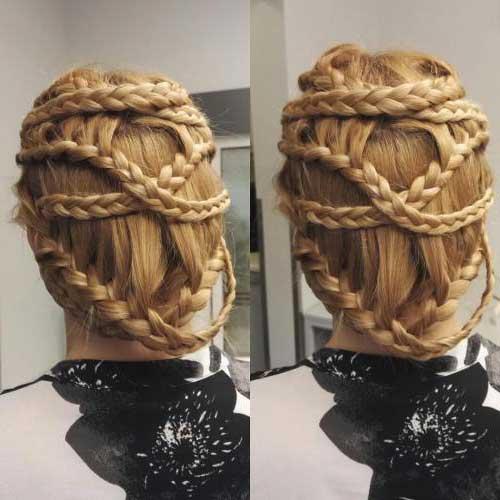 cabelos com cruzamento de tranças
