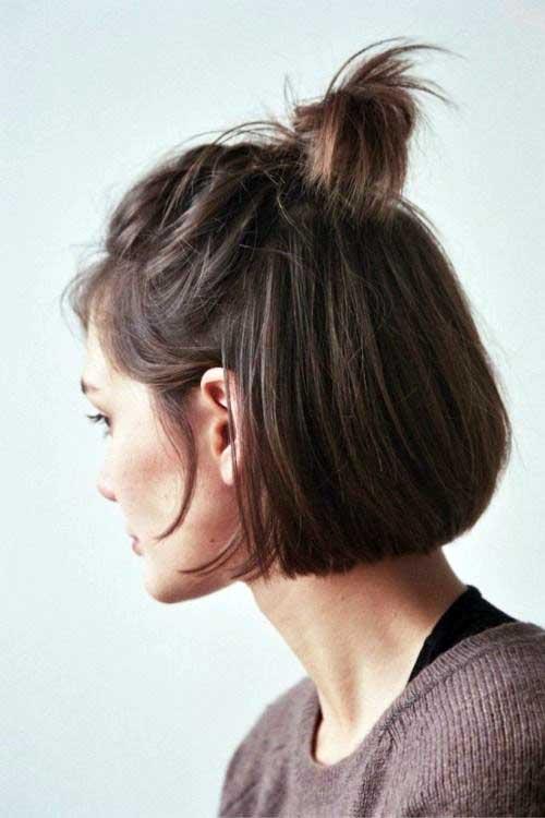 cabelo curto com penteado tipo coque