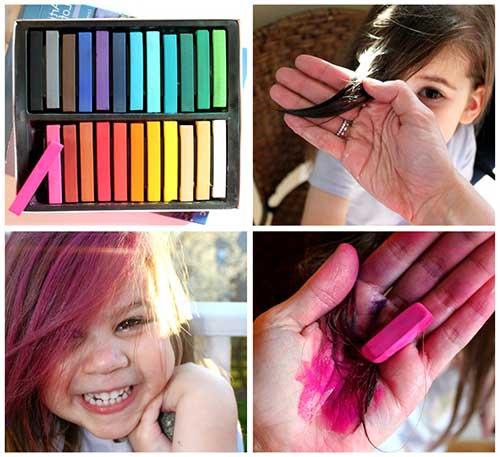 cabelo infantil pintado de roxo