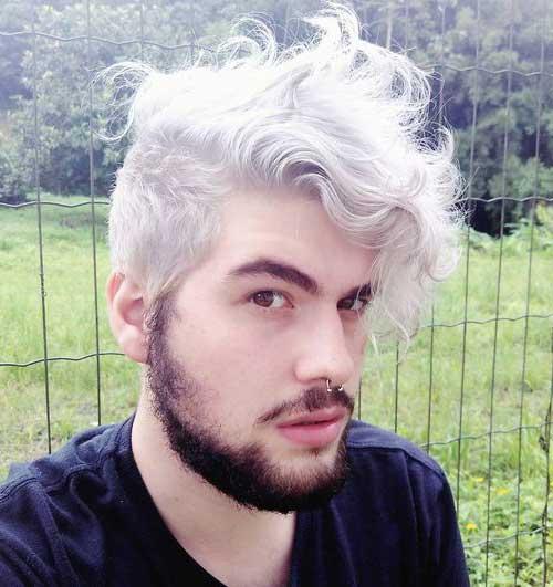 cabelo cacheado masculino platinado acinzentado