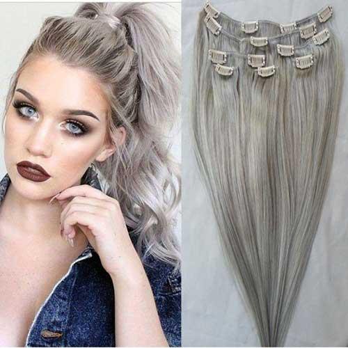 mega hair de cabelo acinzentado tipo tic tac