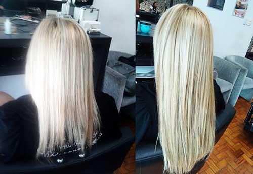 alongamento de cabelo loiro e fino com cola